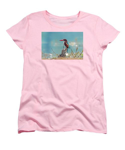 Kingfisher On A Stump Women's T-Shirt (Standard Cut) by Pravine Chester