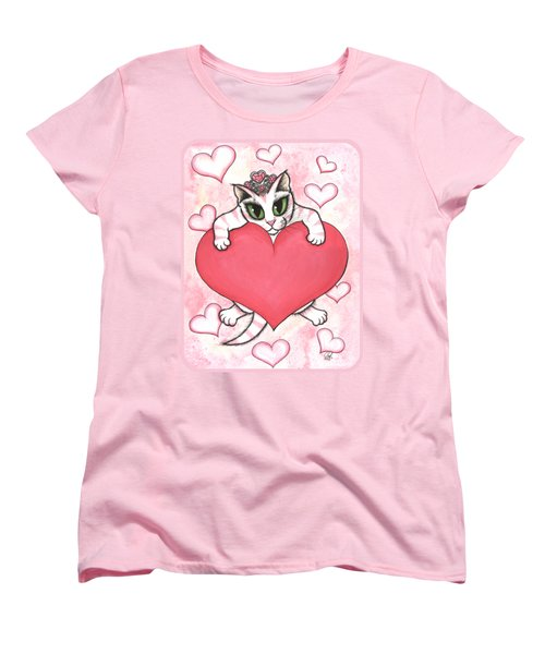 Women's T-Shirt (Standard Cut) featuring the painting Kitten With Heart by Carrie Hawks