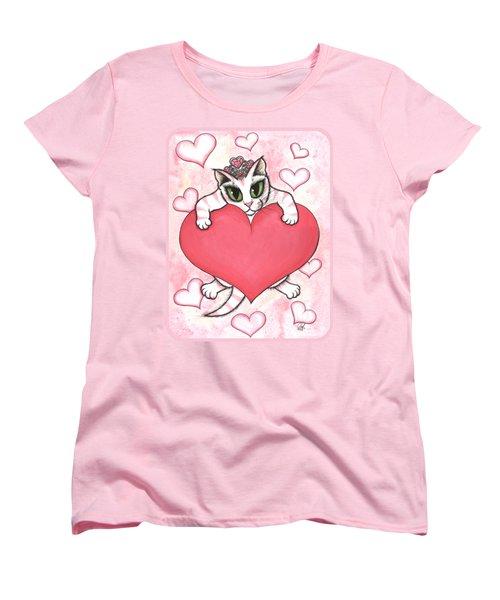 Kitten With Heart Women's T-Shirt (Standard Cut) by Carrie Hawks