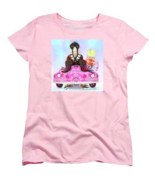Women's T-Shirt (Standard Cut) featuring the digital art Kitty Car Crow by Kari Nanstad