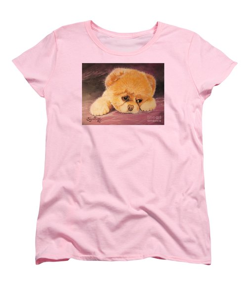 Women's T-Shirt (Standard Cut) featuring the painting Koty The Puppy by Sigrid Tune