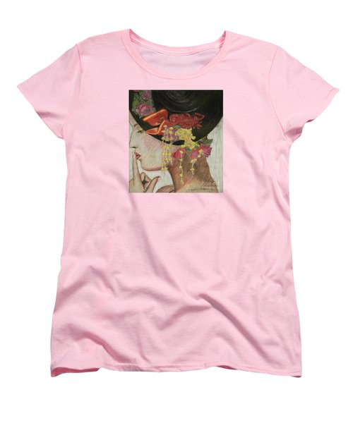 Women's T-Shirt (Standard Cut) featuring the drawing Lady With Hat by Jacqueline Athmann