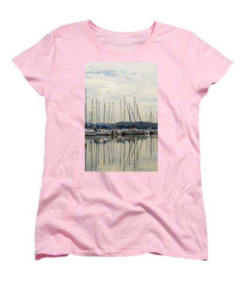 Lake Guntersville Alabama Sailboat Harbor Women's T-Shirt (Standard Cut) by Kathy Clark