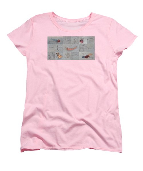 Women's T-Shirt (Standard Cut) featuring the photograph Leaves And Cracks Collage by Ben and Raisa Gertsberg