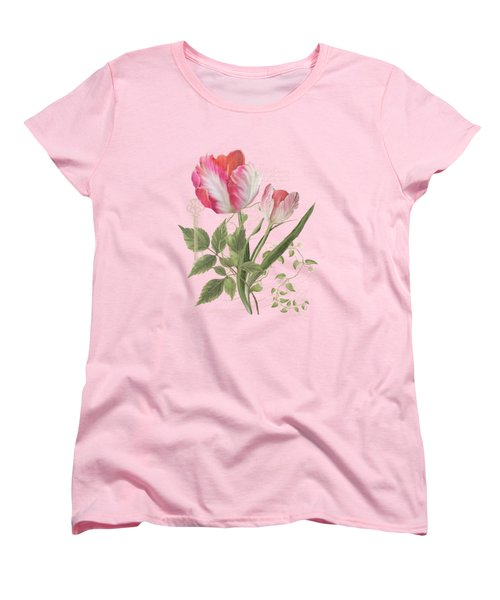 Les Magnifiques Fleurs I - Magnificent Garden Flowers Parrot Tulips N Indigo Bunting Songbird Women's T-Shirt (Standard Cut) by Audrey Jeanne Roberts