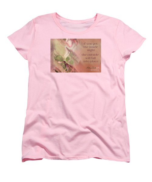 Women's T-Shirt (Standard Cut) featuring the digital art Lily Text - Et01b by Variance Collections