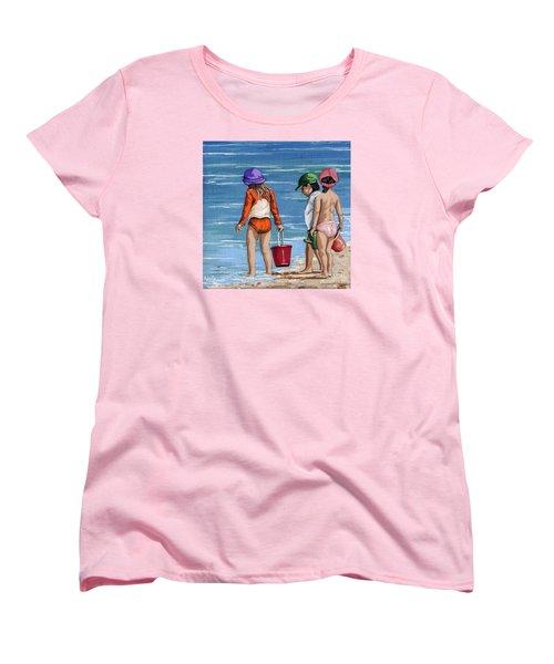Looking For Seashells Children On The Beach Figurative Original Painting Women's T-Shirt (Standard Cut)