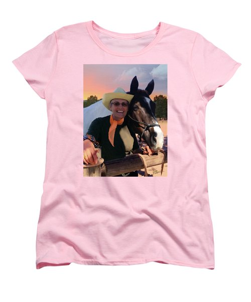 Women's T-Shirt (Standard Cut) featuring the painting Lori And Paco by Doug Kreuger