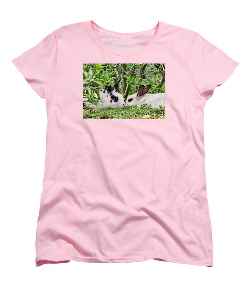 Love Bunnies In Costa Rica Women's T-Shirt (Standard Cut) by Peggy Collins