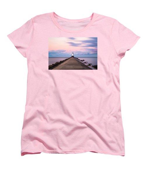 Women's T-Shirt (Standard Cut) featuring the photograph Ludington North Breakwater Light Sunrise by Adam Romanowicz