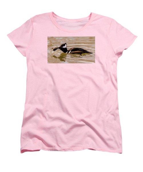 Women's T-Shirt (Standard Cut) featuring the photograph Lunchtime For The Hooded Merganser by Randy Scherkenbach