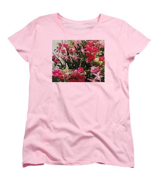 Magenta Orchid Garden Women's T-Shirt (Standard Cut) by Marsha Heiken