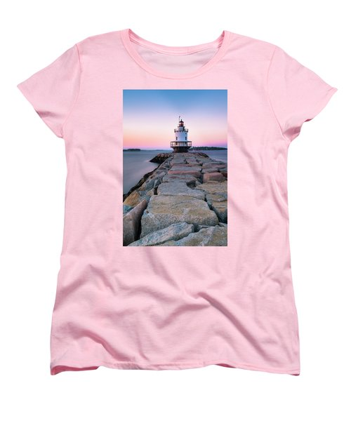 Women's T-Shirt (Standard Cut) featuring the photograph Maine Coastal Sunset Over The Spring Breakwater Lighthouse by Ranjay Mitra