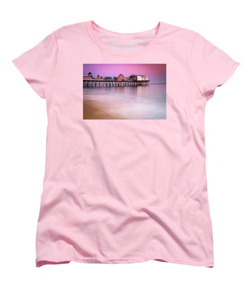 Women's T-Shirt (Standard Cut) featuring the photograph Maine Old Orchard Beach Pier Sunset  by Ranjay Mitra