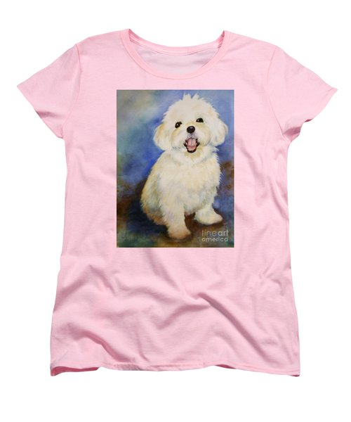 Women's T-Shirt (Standard Cut) featuring the painting Maltese Named Ben by Marilyn Jacobson