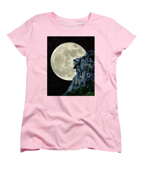 Women's T-Shirt (Standard Cut) featuring the photograph Man In The Moon Meets Old Man Of The Mountain Vertical by Larry Landolfi