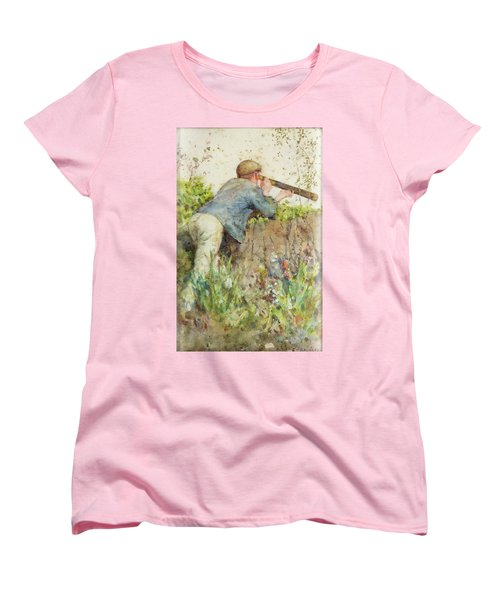 Women's T-Shirt (Standard Cut) featuring the painting Man Looking Through A Telescope by Henry Scott Tuke