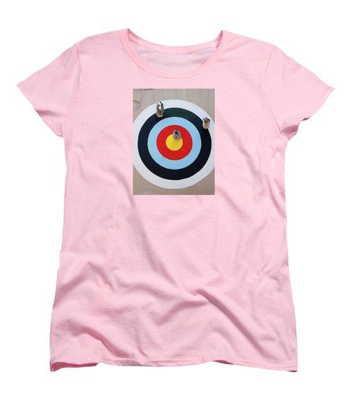 Mark Jenkins Target Mural Women's T-Shirt (Standard Cut) by Jean Haynes