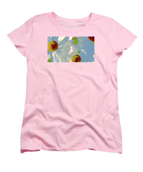 Women's T-Shirt (Standard Cut) featuring the photograph Matilija Poppies Pop Art by Ben and Raisa Gertsberg