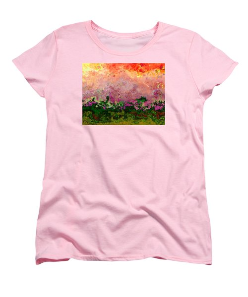 Women's T-Shirt (Standard Cut) featuring the digital art Meadow Morning by Wendy J St Christopher