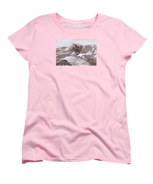 Women's T-Shirt (Standard Cut) featuring the painting Medicine Bow Peak Historical Vignette by Dawn Senior-Trask