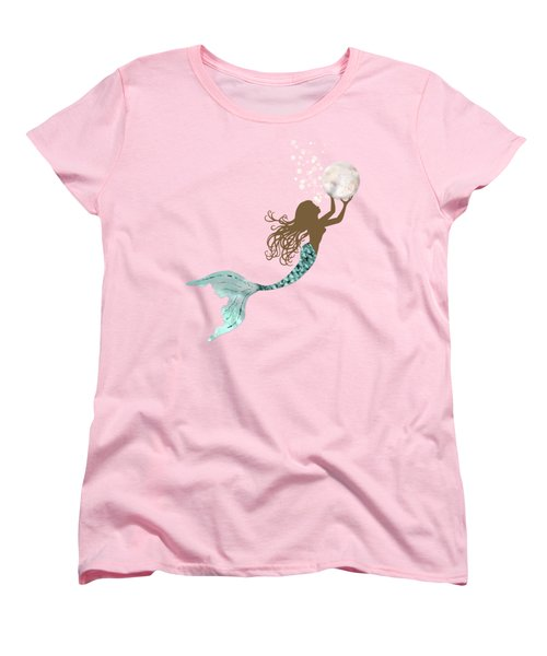 Mermaid Of Color Gathering Pearls Brown Siren Holds A Huge Pearl Women's T-Shirt (Standard Cut) by Tina Lavoie
