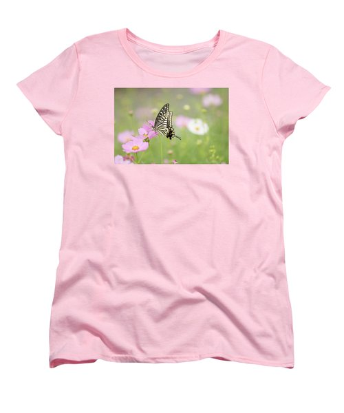 Mexican Aster With Butterfly Women's T-Shirt (Standard Cut) by Hyuntae Kim