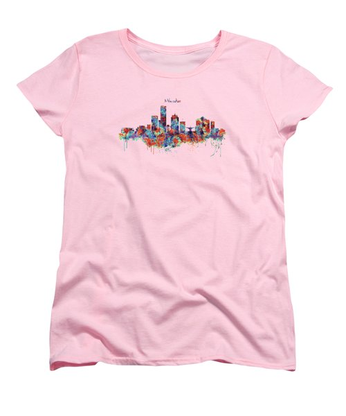 Women's T-Shirt (Standard Cut) featuring the mixed media Milwaukee Watercolor Skyline by Marian Voicu