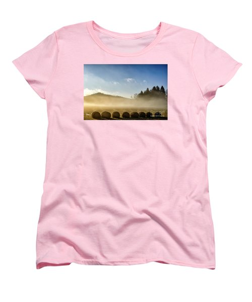 Women's T-Shirt (Standard Cut) featuring the photograph Misty Country Morning by Thomas R Fletcher