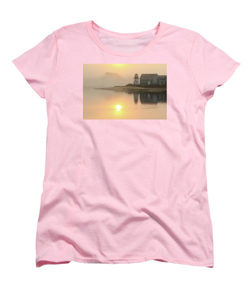Women's T-Shirt (Standard Cut) featuring the photograph Misty Morning Hyannis Harbor Lighthouse by Roupen  Baker