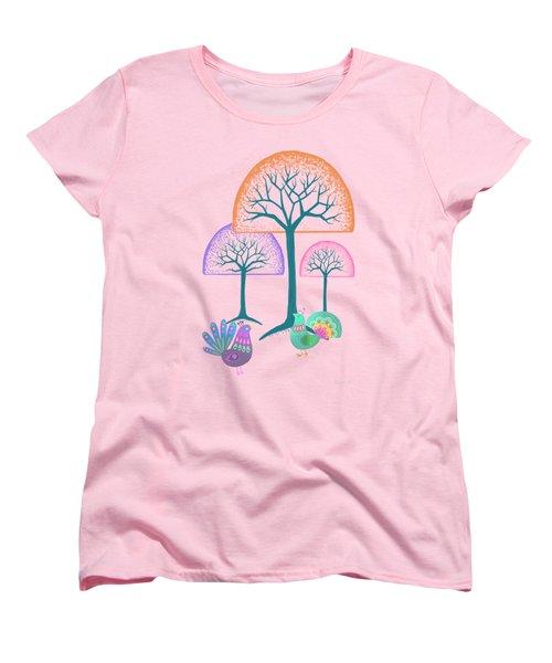 Moon Bird Forest Women's T-Shirt (Standard Cut) by Little Bunny Sunshine