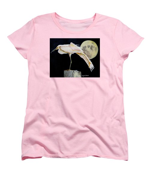 Moon Over Mississippi A Snowy Egrets Perspective Women's T-Shirt (Standard Cut) by Phyllis Beiser