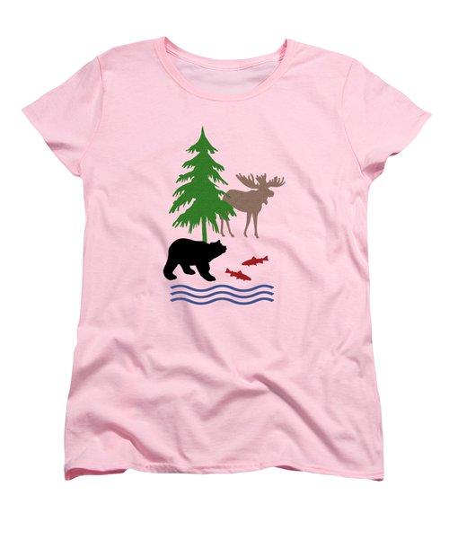 Moose And Bear Pattern Art Women's T-Shirt (Standard Cut)