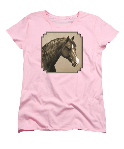 Morgan Horse Painting In Sepia Women's T-Shirt (Standard Cut) by Crista Forest