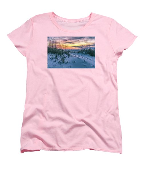 Women's T-Shirt (Standard Cut) featuring the photograph Morning Sunrise At The Beach by John McGraw