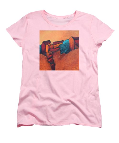 Women's T-Shirt (Standard Cut) featuring the painting Mountain Village by Nancy Jolley