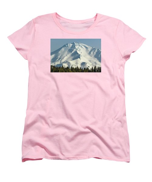 Women's T-Shirt (Standard Cut) featuring the photograph Mt Shasta In Early Morning Light by Marc Crumpler