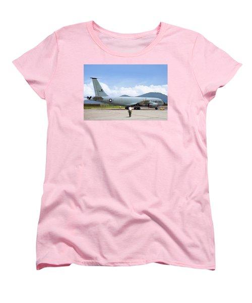Women's T-Shirt (Standard Cut) featuring the digital art My Baby Kc-135 by Peter Chilelli