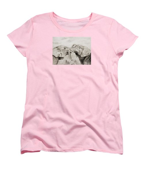 Women's T-Shirt (Standard Cut) featuring the drawing My Dad Is Bigger Than Your Dad by John Stuart Webbstock