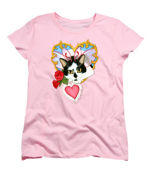 Women's T-Shirt (Standard Cut) featuring the painting My Feline Valentine Tuxedo Cat by Carrie Hawks