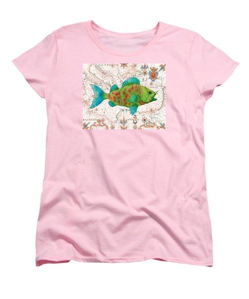 Women's T-Shirt (Standard Cut) featuring the painting Nautical Treasures-a by Jean Plout