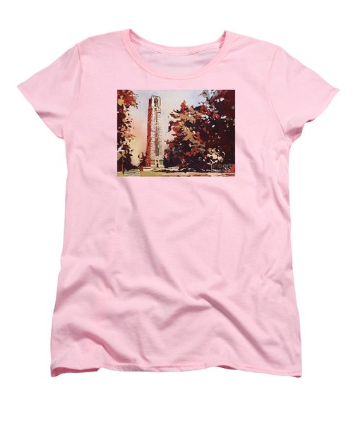Women's T-Shirt (Standard Cut) featuring the painting Ncsu Bell-tower II by Ryan Fox