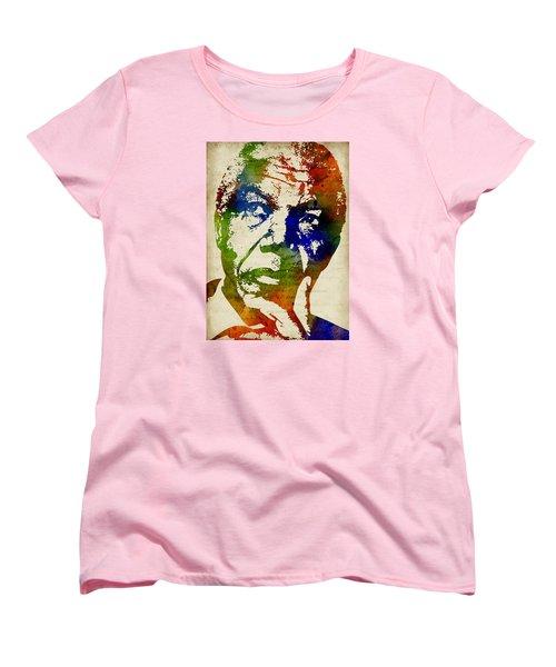 Nelson Mandela Watercolor Women's T-Shirt (Standard Cut) by Mihaela Pater