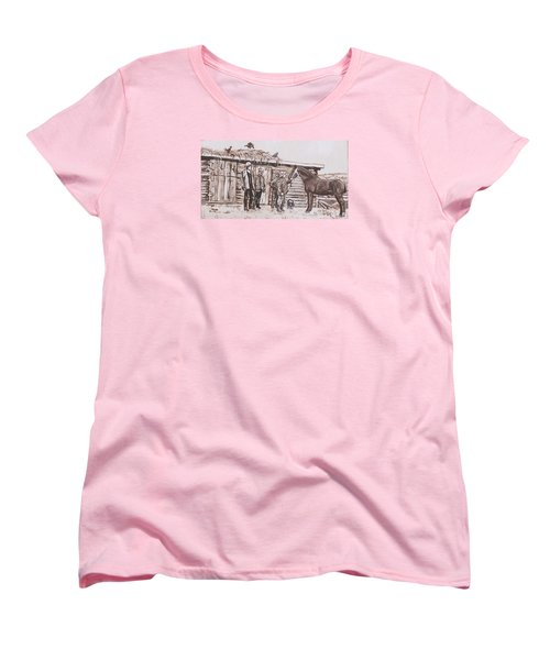 Women's T-Shirt (Standard Cut) featuring the painting New Stallion At The Homestead Historical Vignette by Dawn Senior-Trask