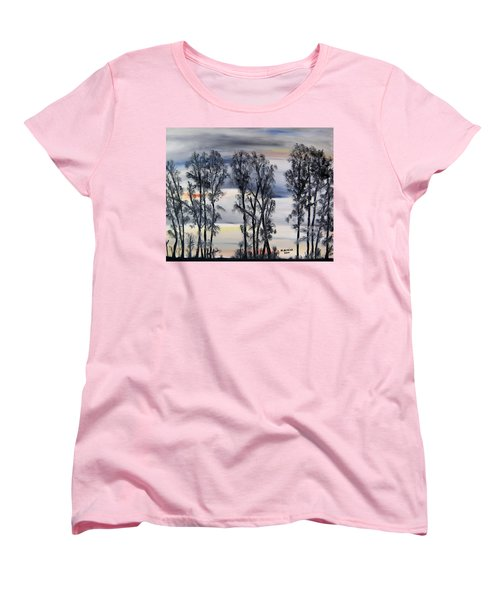 Women's T-Shirt (Standard Cut) featuring the painting Nightfall Approaching by Marilyn  McNish