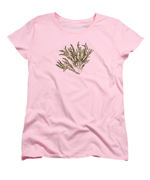 Women's T-Shirt (Standard Cut) featuring the mixed media Ocean Seaweed Plant Art Ptilota Sericea Square by Christina Rollo