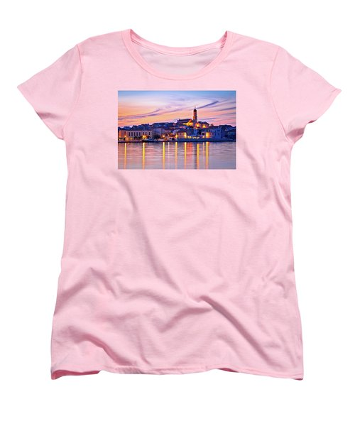 Old Mediterranean Town Of Betina Sunset View Women's T-Shirt (Standard Cut) by Brch Photography