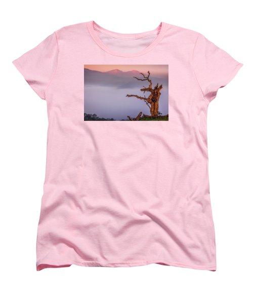 Old Oak And Mt. Diablo On A Foggy Morning Women's T-Shirt (Standard Cut) by Marc Crumpler
