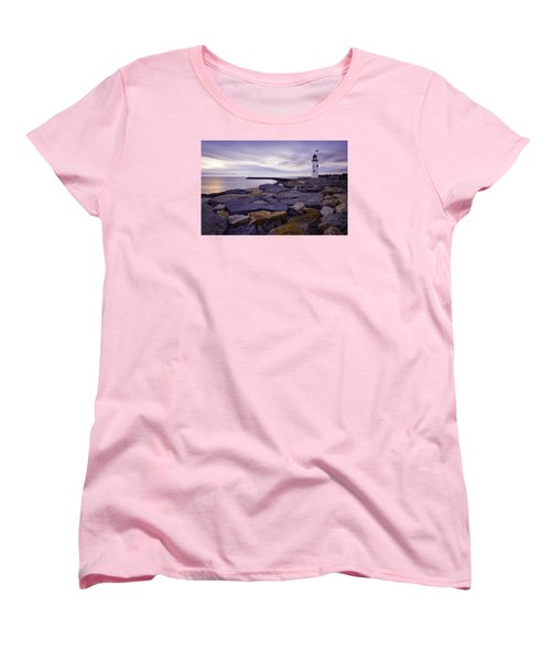 Old Scituate Light At Sunrise Women's T-Shirt (Standard Cut) by Betty Denise