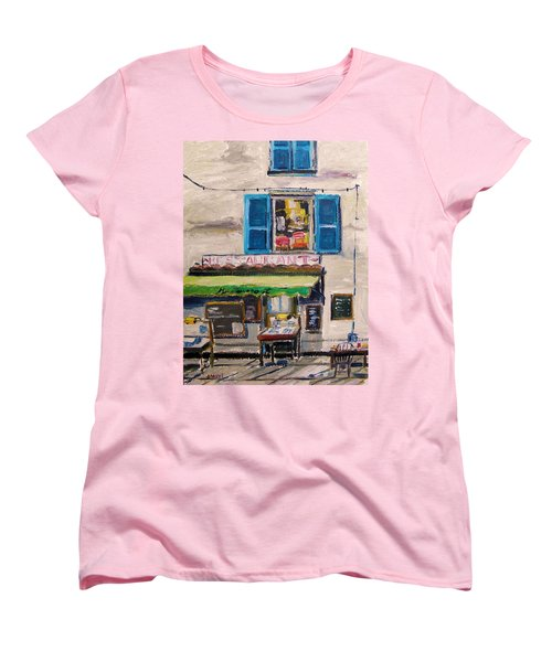 Women's T-Shirt (Standard Cut) featuring the painting Old Town Cafe by John Williams